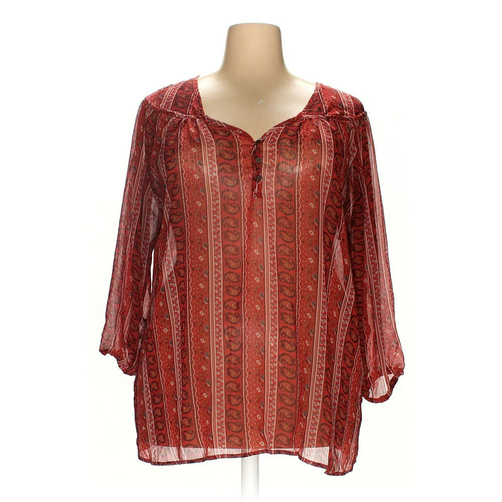 Rose Olive Polyester Blouse Size 3x
