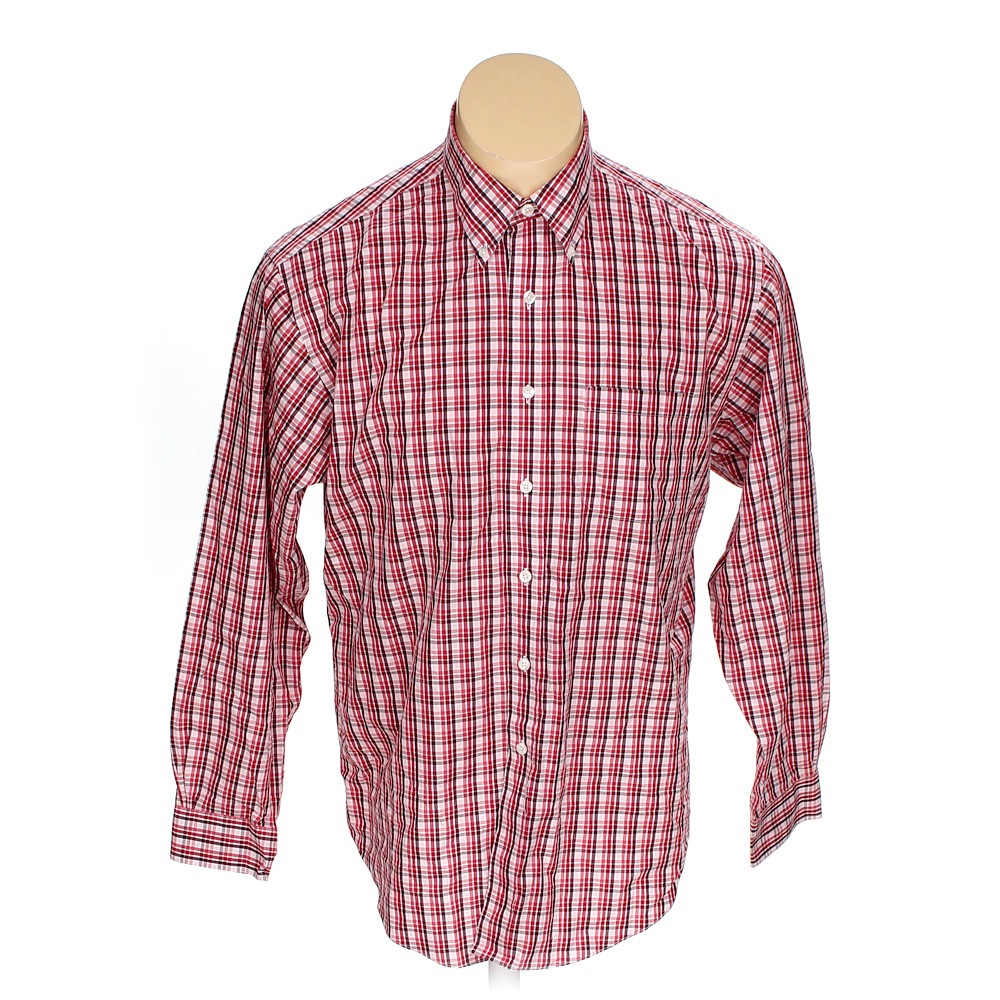 0ea2070e031f5 Brooks Brothers Plaid Cotton Button-down Long Sleeve Shirt, Size L, Red