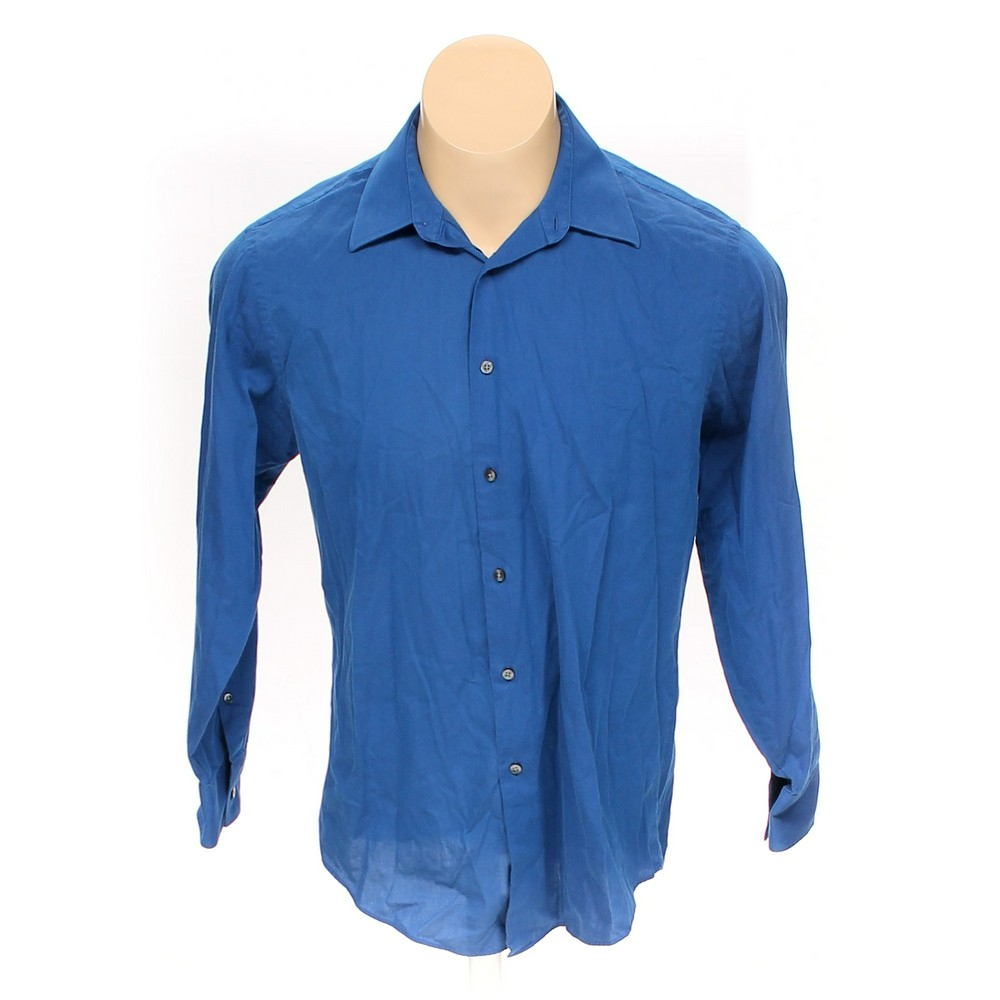 Geoffrey Beene Solid Button Up Long Sleeve Shirt Size 44 Chest