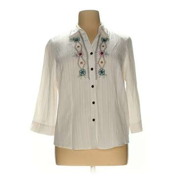 d1d2aec378c Beige Alfred Dunner Button-up Shirt in size 14 at up to 95% Off - Swap.com