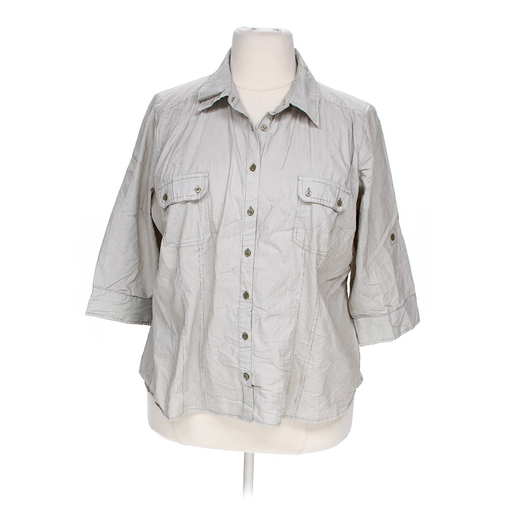 Grey apt 9 button up shirt in size 3x at up to 95 off for Polyester button up shirt