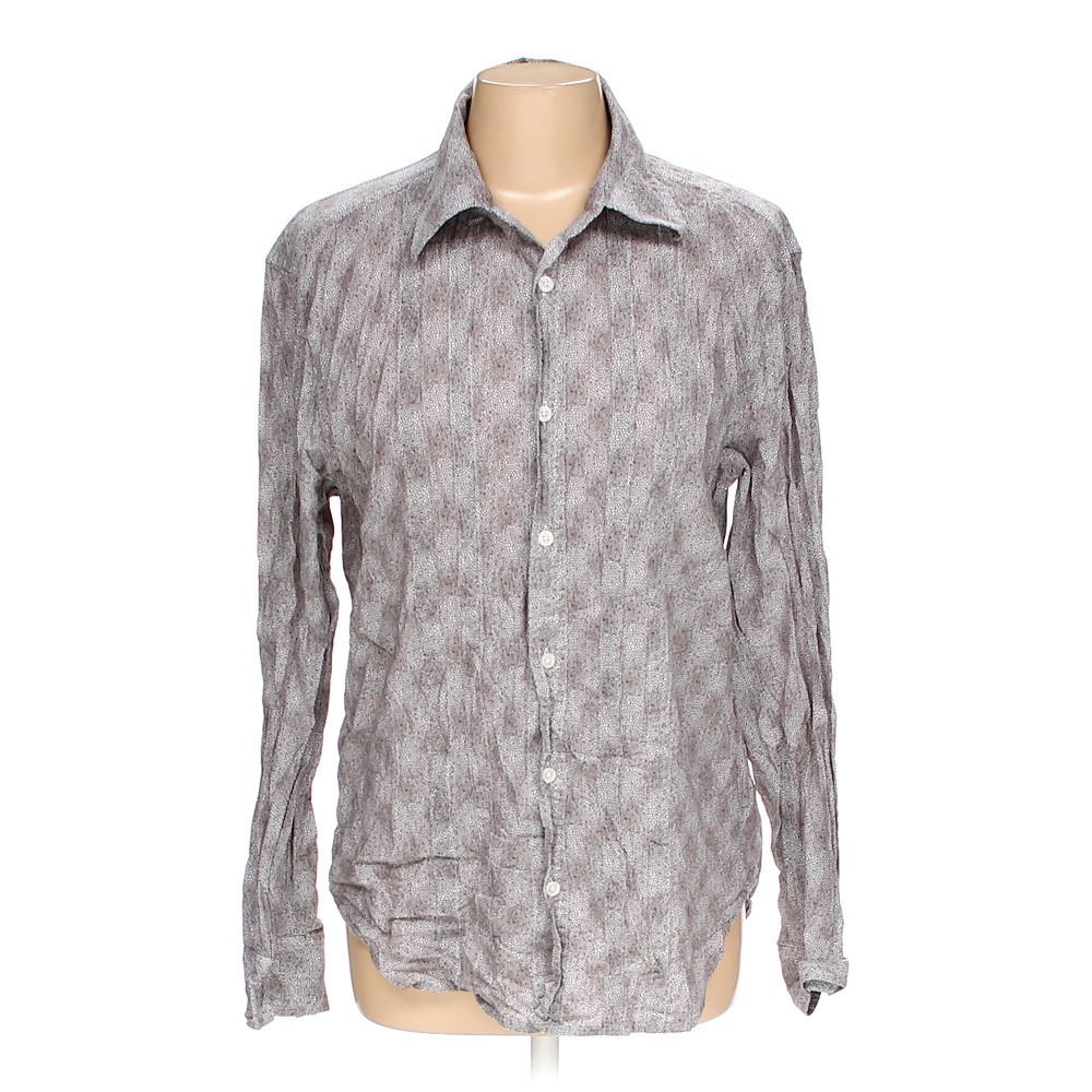 48f04057 Armani Exchange Abstract Cotton Button-up Shirt, Size M, Grey