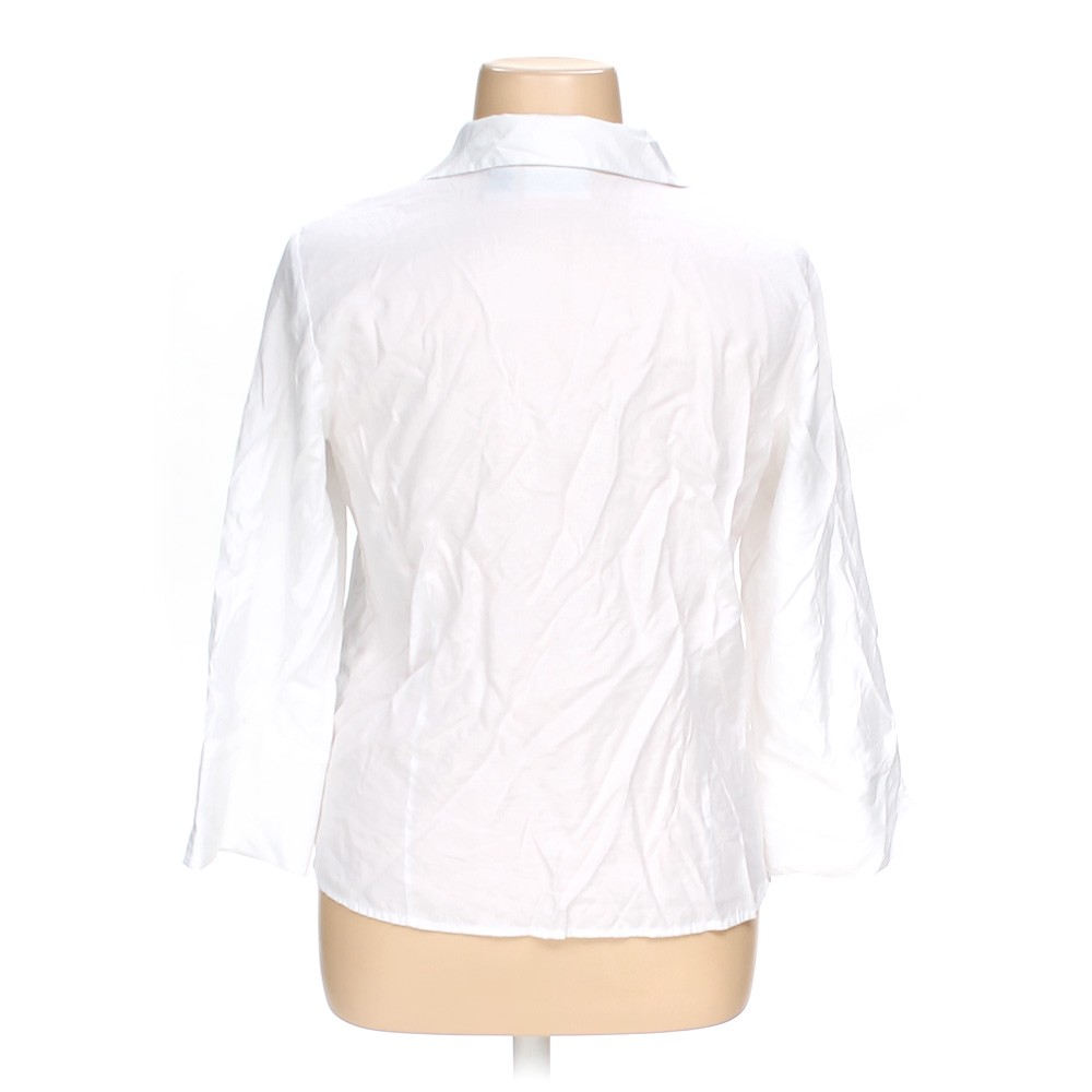 White joanna button up shirt in size xl at up to 95 off for Polyester button up shirt