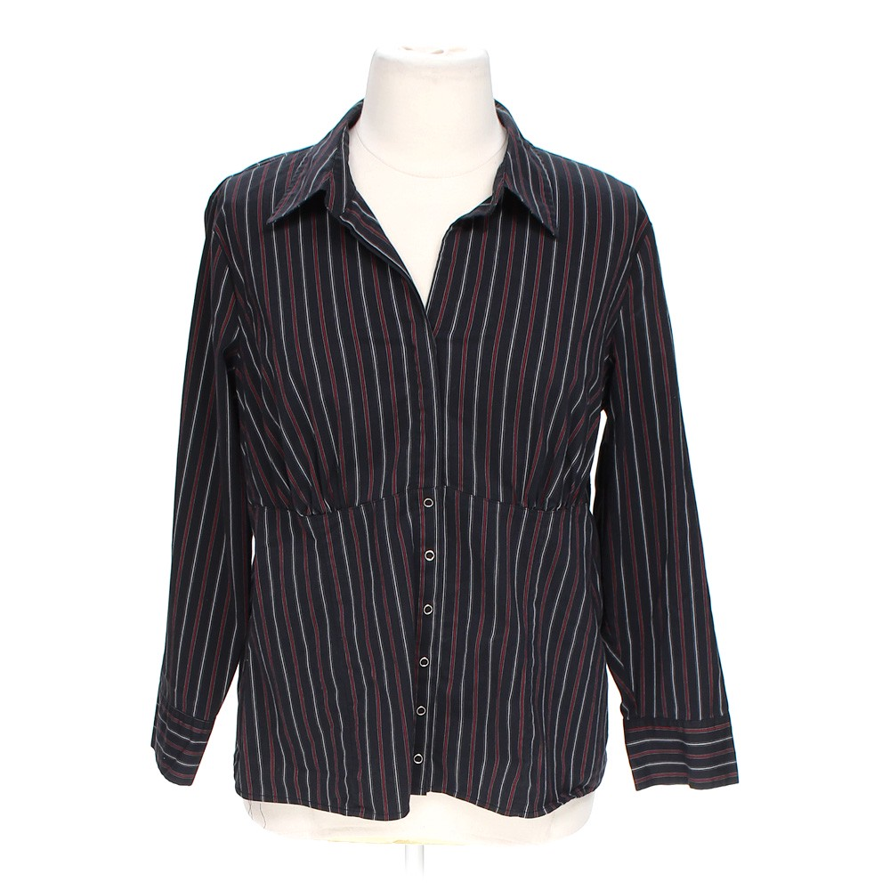 Lane bryant button up shirt online consignment for Polyester button up shirt