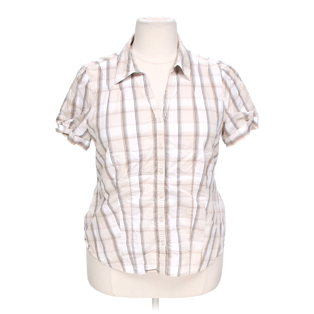 St john 39 s bay button up shirt online consignment for White shirt brown buttons