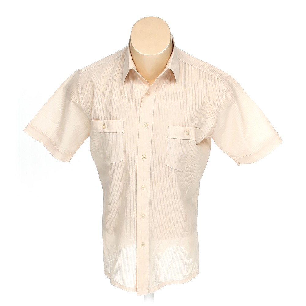 6248f86e KINGS' COURT Solid Polyester Button-up Short Sleeve Shirt, Size M, Beige