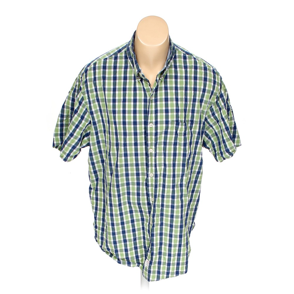 Stafford Plaid Button Up Short Sleeve Shirt Size 44 Chest