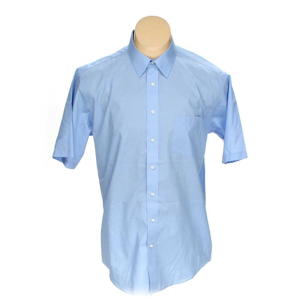 Stafford Solid Button Up Short Sleeve Shirt Size L Light Blue