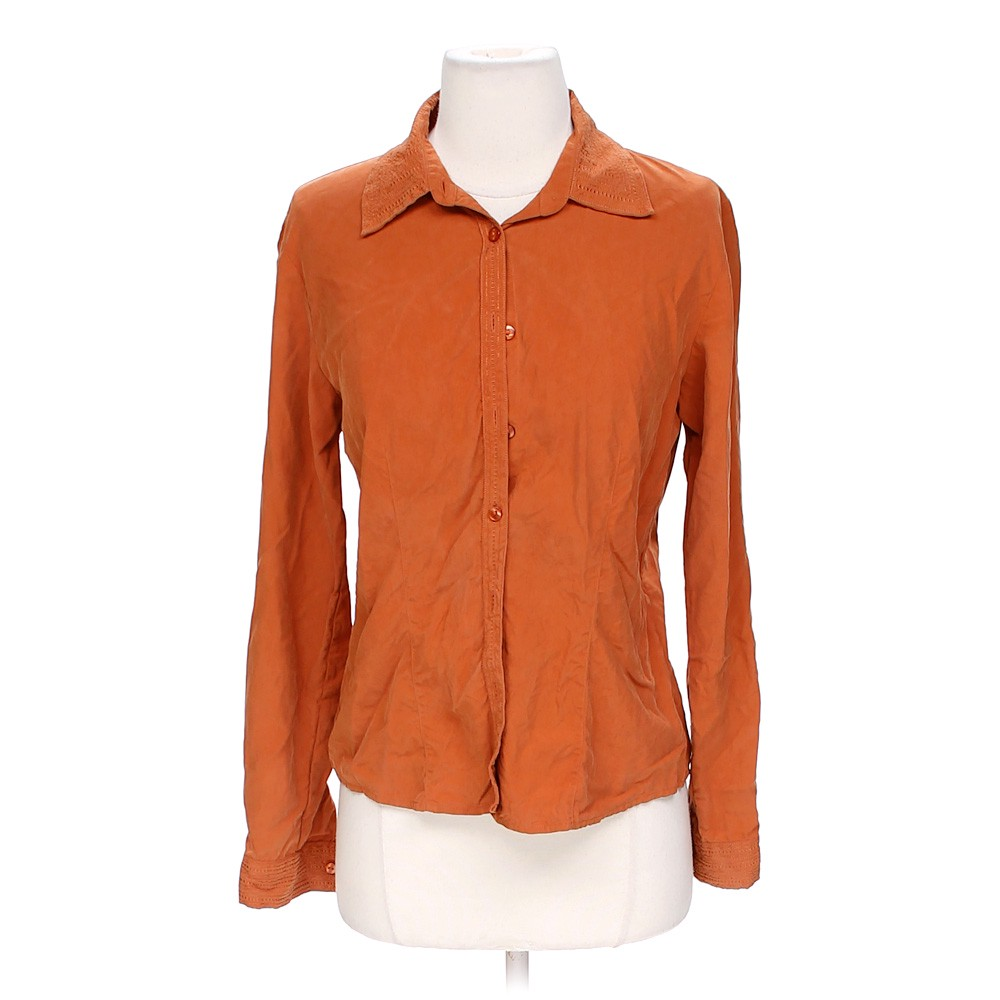 Orange Ali Miles Casual Button Up Shirt In Size S At Up To