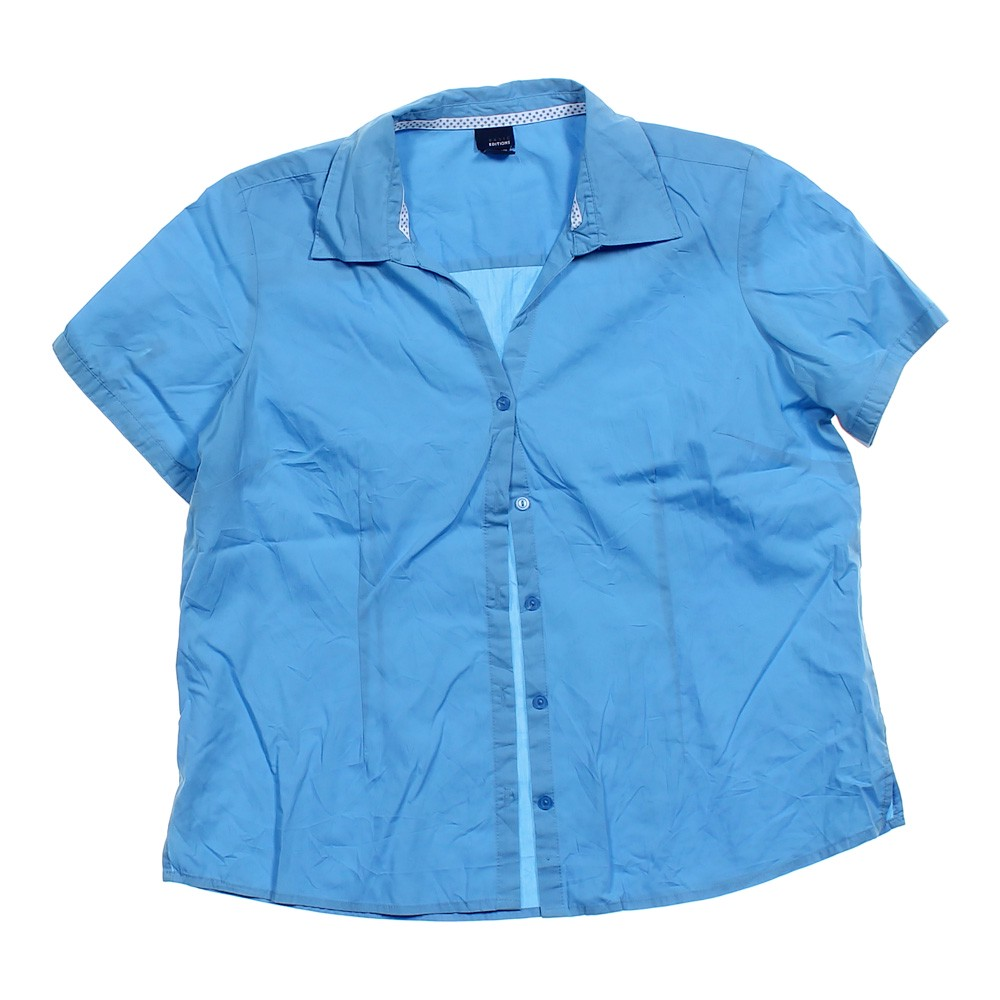 Basic editions casual button up shirt in size xl at up to for Polyester button up shirt