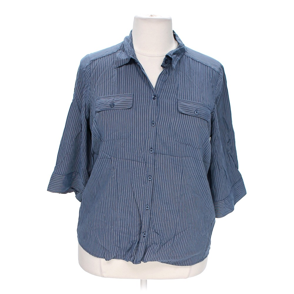 Blue Navy Croft Barrow Casual Button Up Shirt In Size 1x