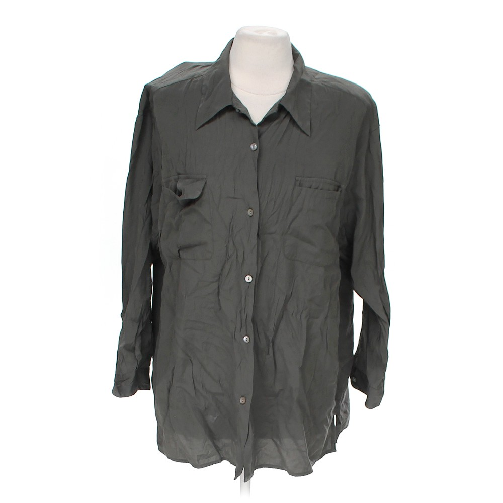Grey Dressbarn Casual Button Up Shirt In Size 12 At Up To