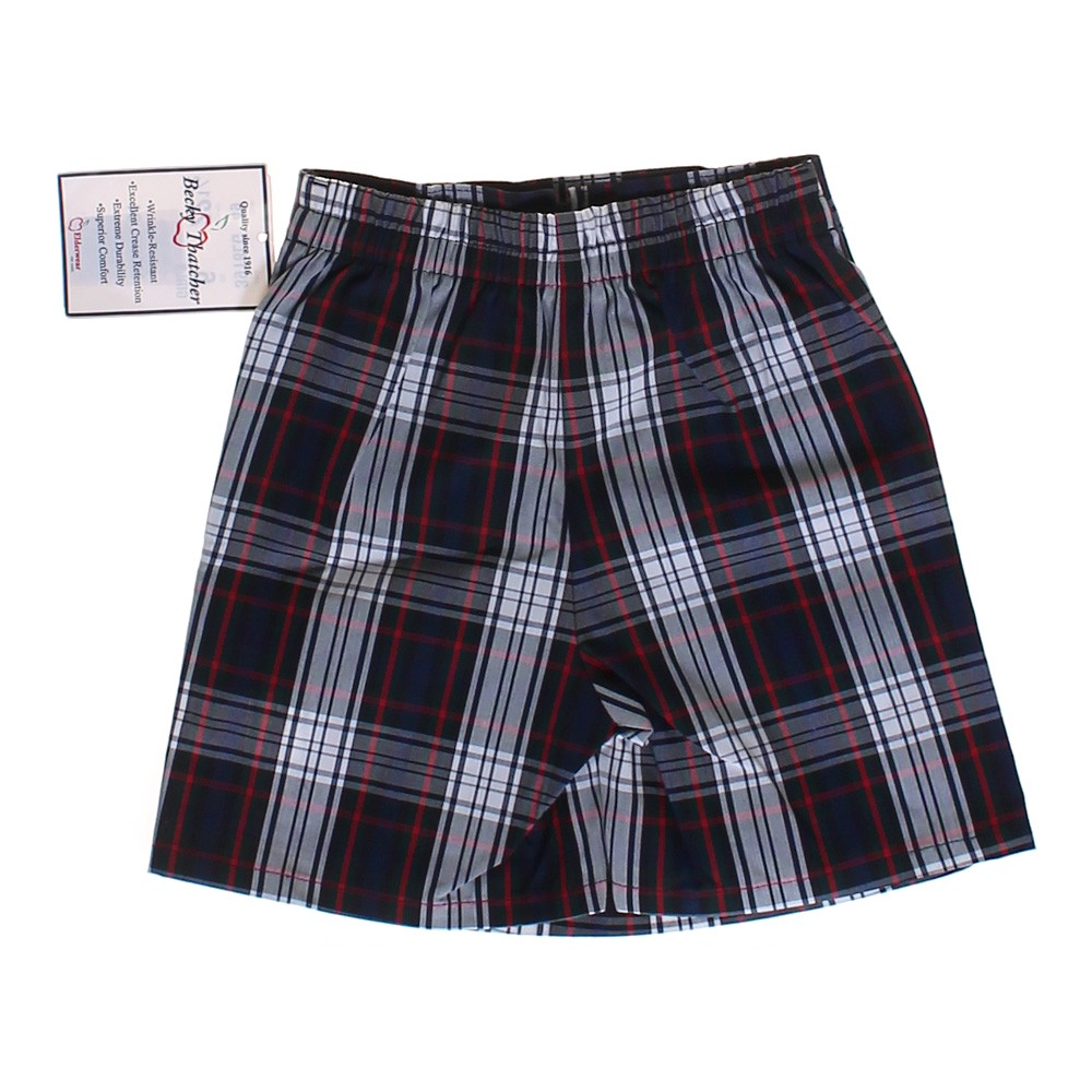 Skort with back elastic waistband and front contrasting buttons. Side zip closure and plaid print.