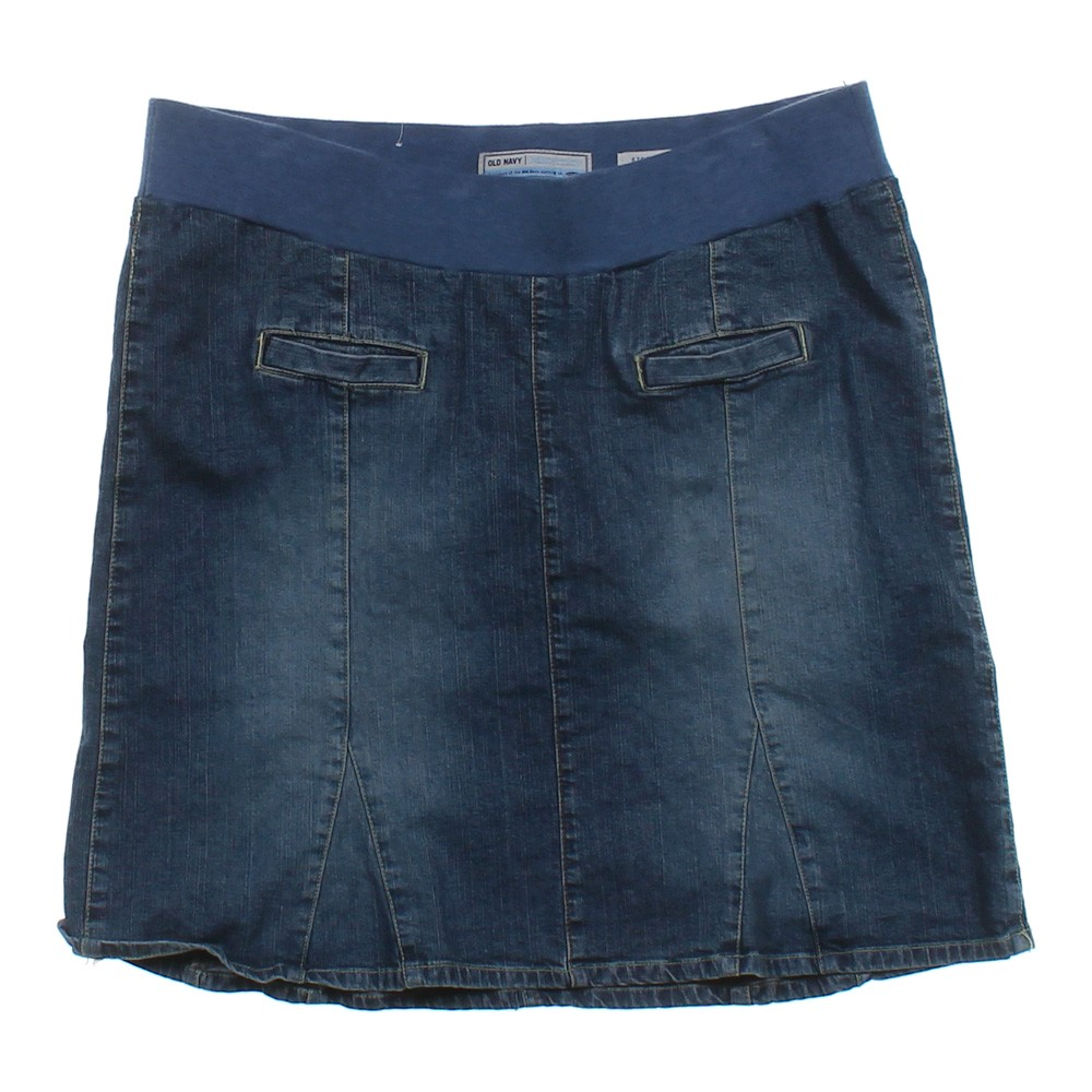 blue navy navy denim maternity skirt in size l at up