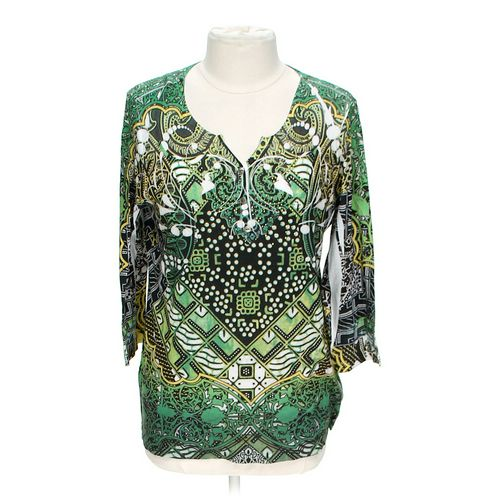 Style & Co Embellished Graphic Henley Shirt in size XL at up to 95% Off - Swap.com