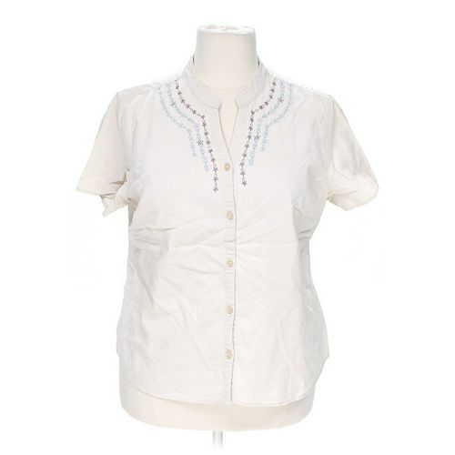 Basic Editions Embroidered Button-up Shirt in size 1X at up to 95% Off - Swap.com