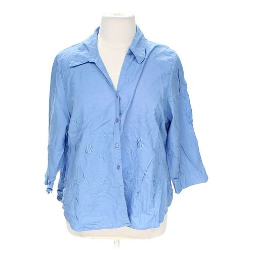 Quiz Clothing Embroidered Button-up Shirt in size 22 at up to 95% Off - Swap.com
