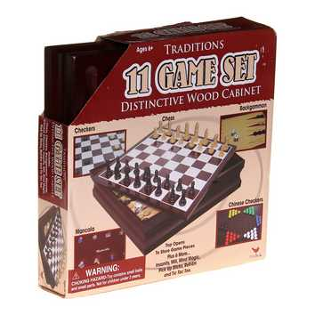 Game: 11 Game Set Distinctive Wood Cabinet for Sale on Swap.com