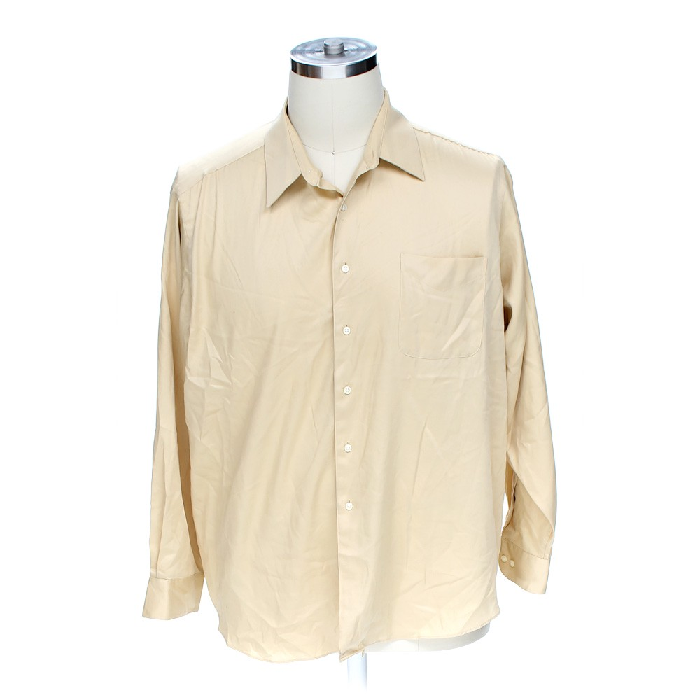 Beige george george button up long sleeve shirt in size 36 for 18 36 37 shirt size