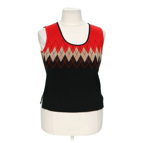 Ming Wang Knit Argyle Vest in size L at up to 95% Off - Swap.com