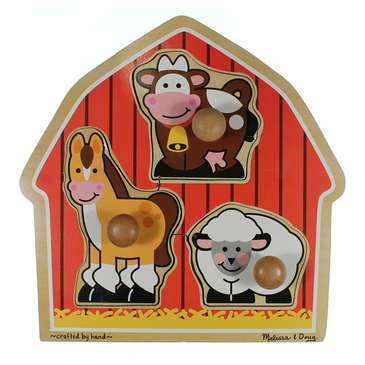 Melissa & Doug Barnyard Animals Jumbo Knob Wooden Puzzle - Horse, Cow, and Sheep Puzzle for Sale on Swap.com