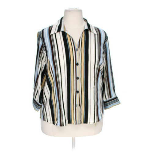 Notations Pinstriped Button-up Shirt in size 1X at up to 95% Off - Swap.com
