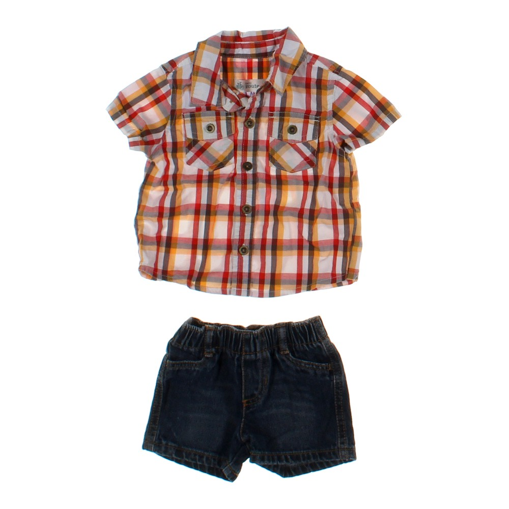 plaid button up shirt denim short set in size 6 mo at up. Black Bedroom Furniture Sets. Home Design Ideas