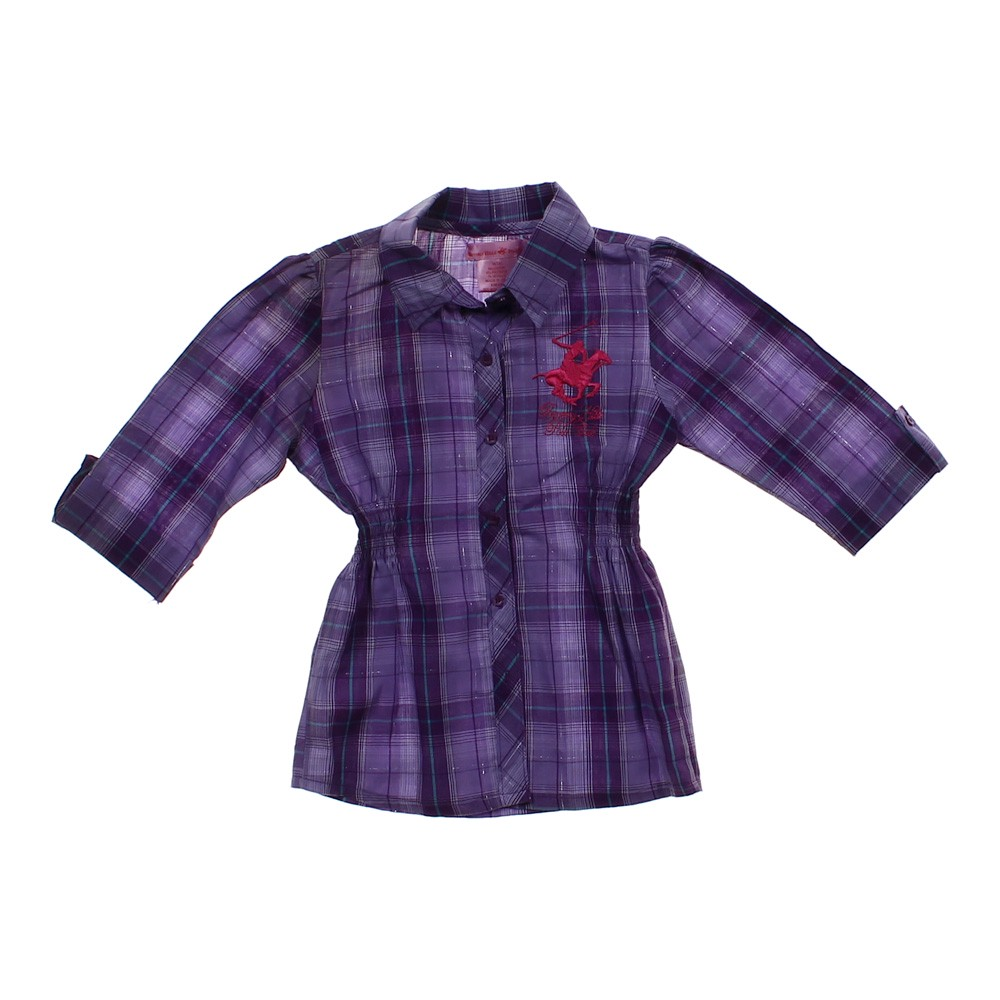 Purple Beverly Hills Polo Club Plaid Button Up Shirt In
