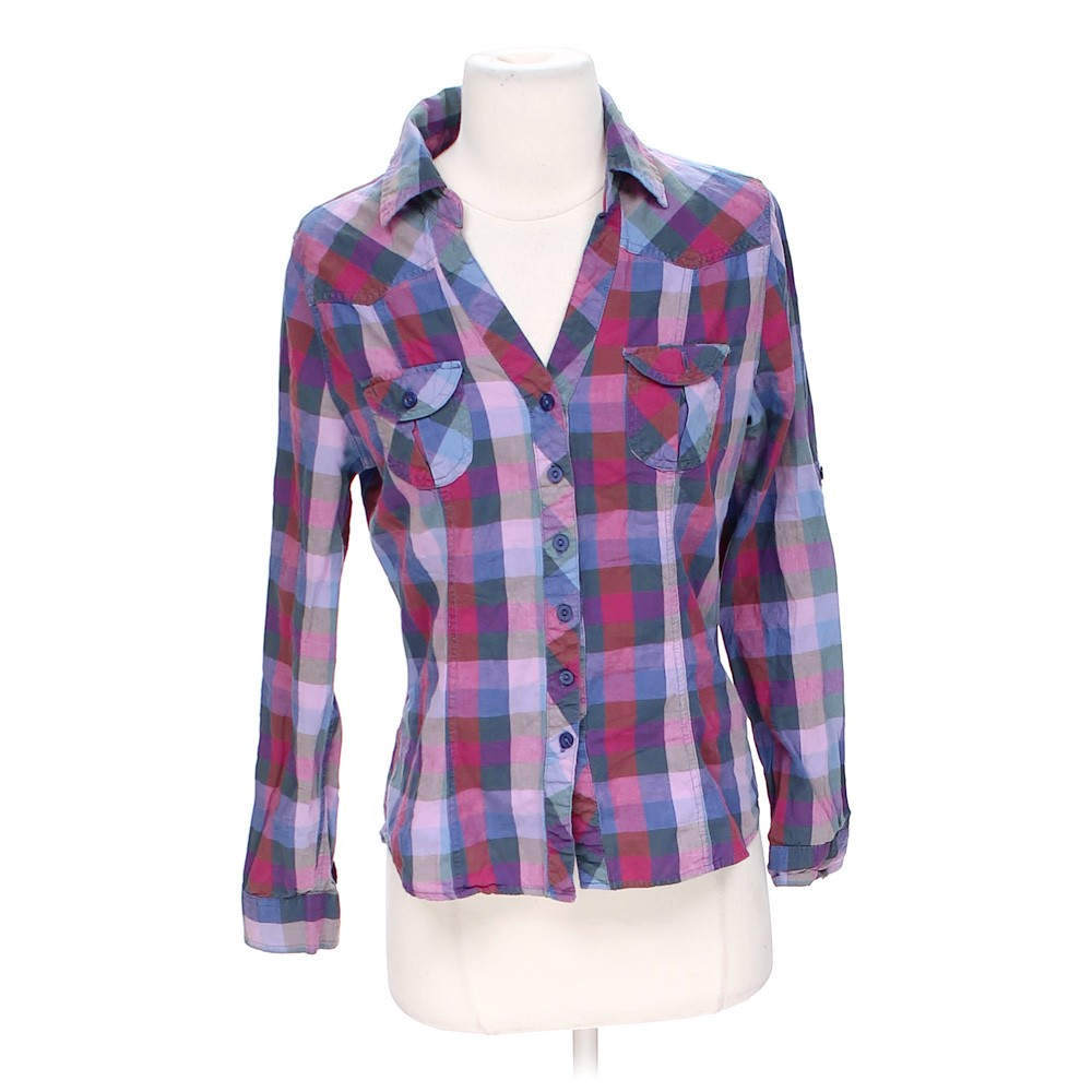Purple forever 21 plaid button up shirt in size s at up to for Purple plaid button up shirt