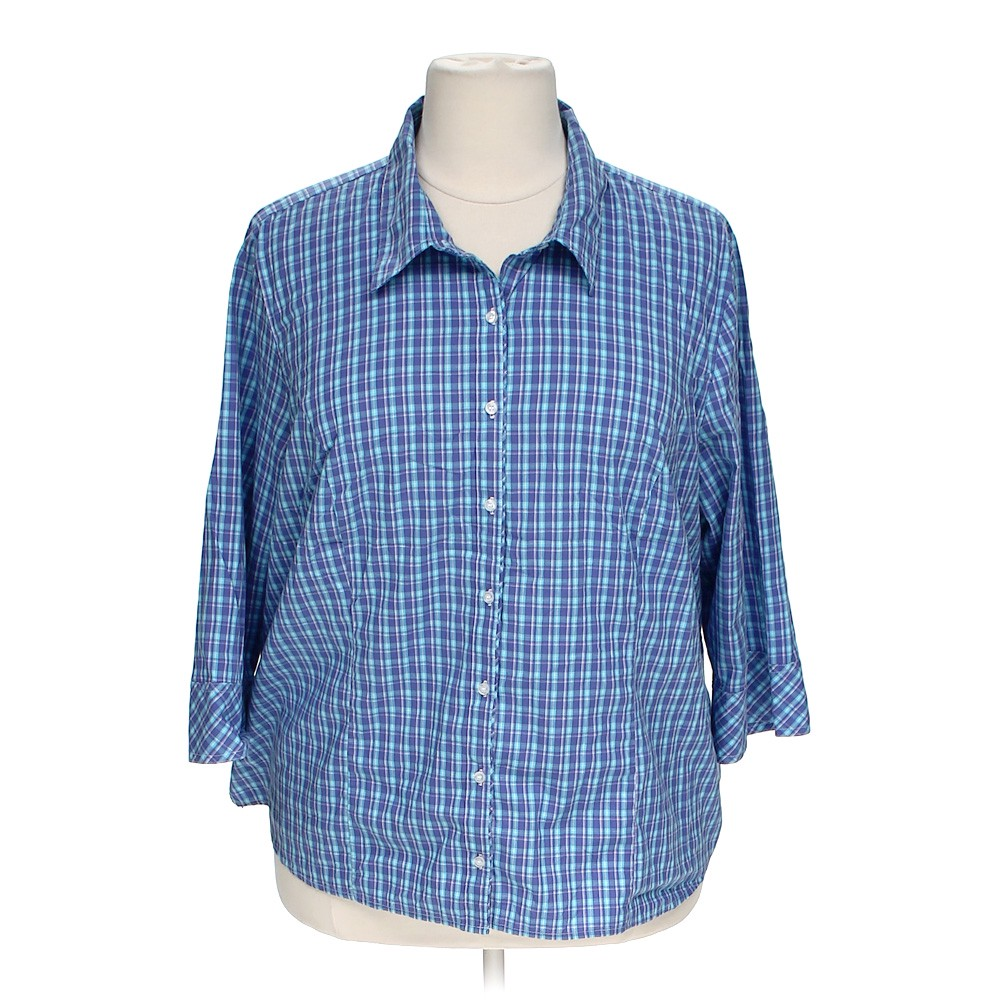 Riders plaid button up shirt online consignment for Polyester button up shirt