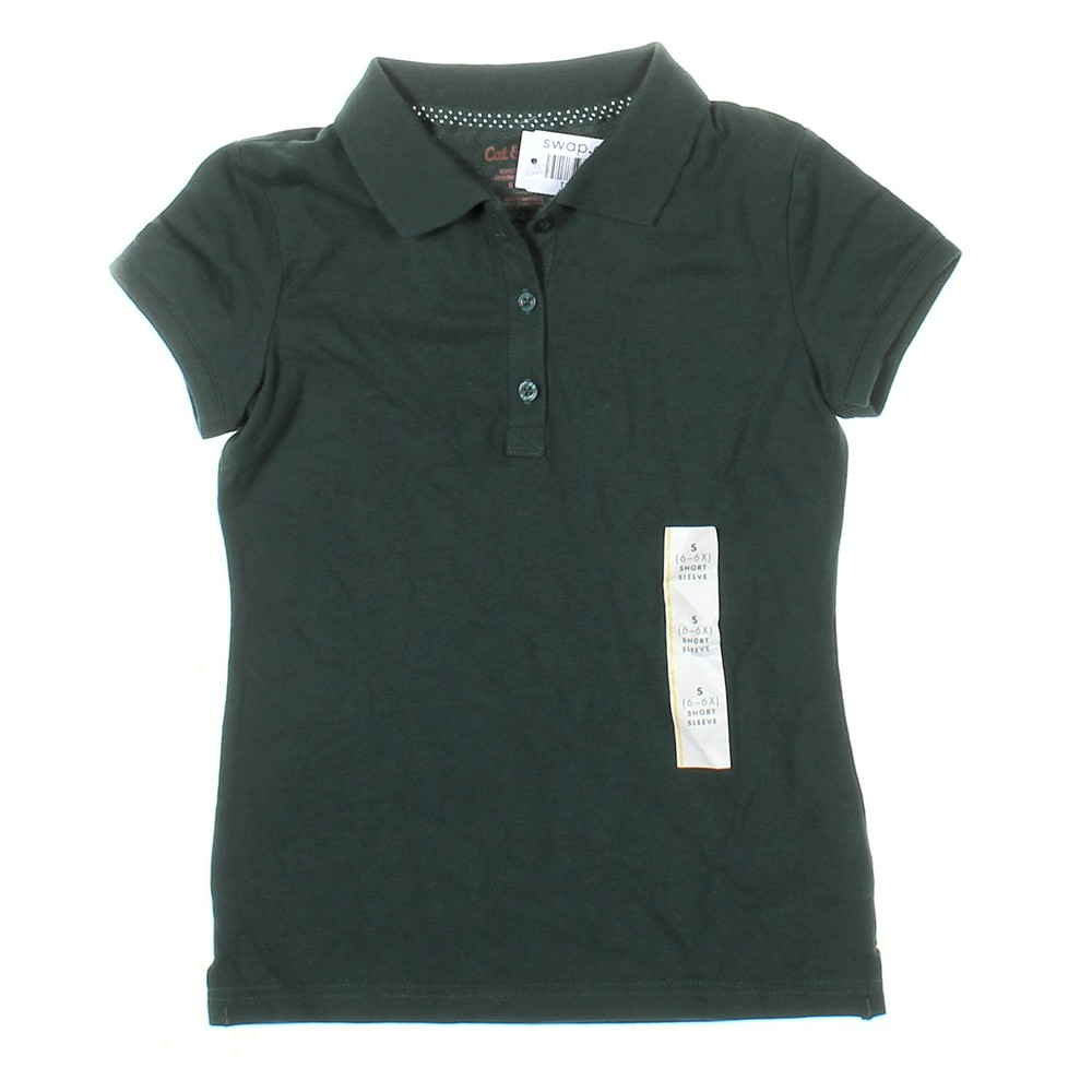 Cat Jack Girls Polo Shirt Size 6 Green