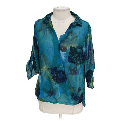 Figueroae Flower Sheer Surplice Blouse in size L at up to 95% Off - Swap.com