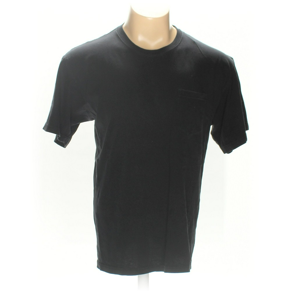 Stafford Solid Cotton Short Sleeve T Shirt Size L Black