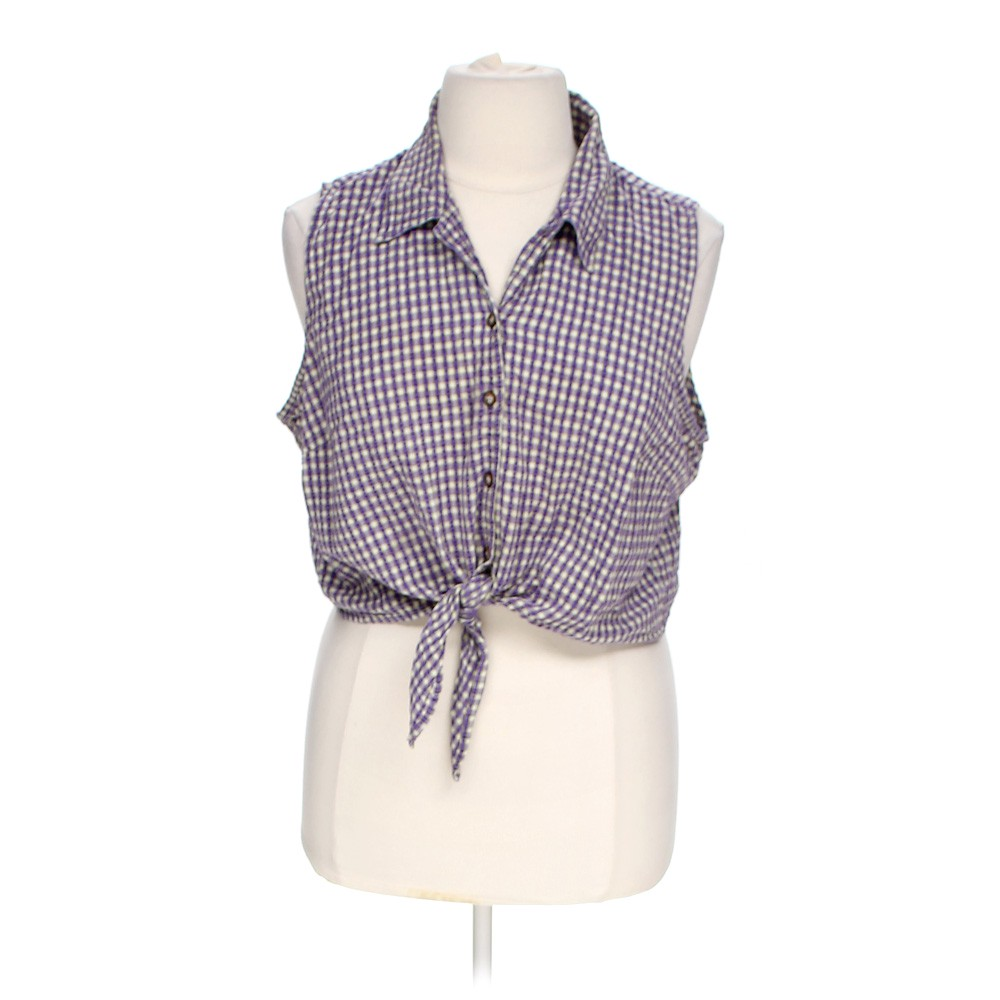 Faded glory sleeveless tie front button up online for Cotton button up shirt