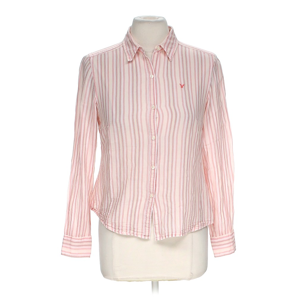 Pink American Eagle Outfitters Striped Button Up Shirt In