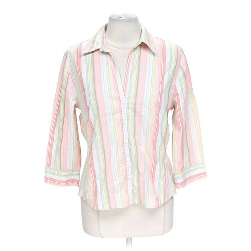 New York & Company Striped Button-up Shirt in size L at up to 95% Off - Swap.com