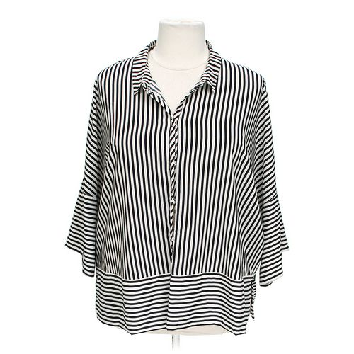 ADRIANNA PAPELL Striped Snap-up Blouse in size 2X at up to 95% Off - Swap.com