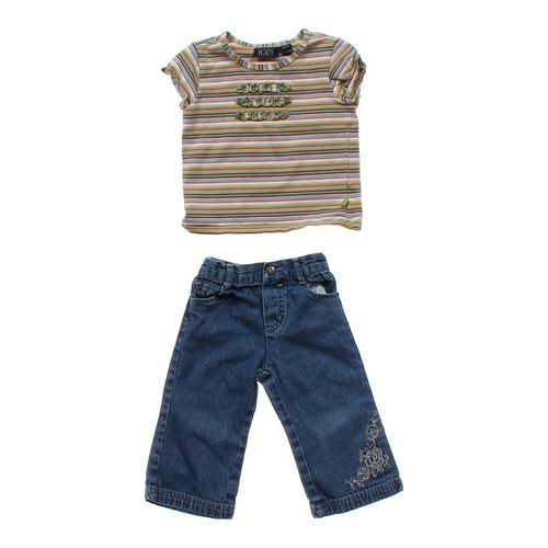 The Children's Place Striped Tee & Embroidered Jeans in size 18 mo at up to 95% Off - Swap.com
